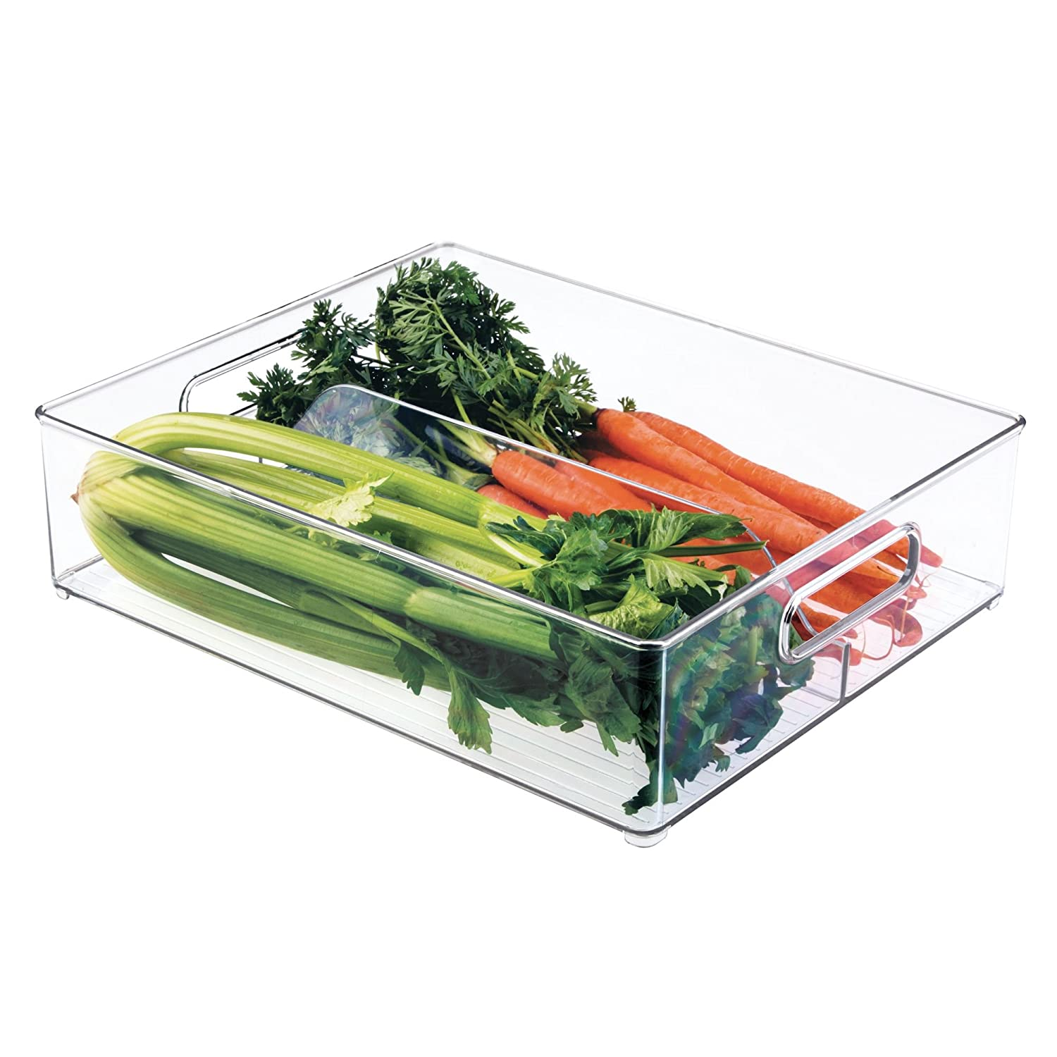 "Plastic Storage Organizer Bin Tote with Handles for Kitchen, Fridge, Freezer, Pantry, Under Sink, and Cabinet Organization, BPA-FreeInterDesignDivided7063012"" x 4"" x 14.5""Clear"