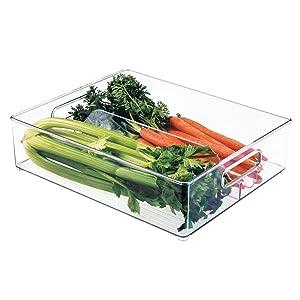 """Plastic Storage Organizer Bin Tote with Handles for Kitchen, Fridge, Freezer, Pantry, Under Sink, and Cabinet Organization, BPA-FreeInterDesignDivided7063012"""" x 4"""" x 14.5""""Clear"""