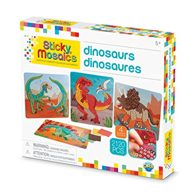 """Orb The Factory Sticky Mosaics Dinosaurs Arts & Crafts, Green/Brown/Orange/Blue, 12"""" x 2"""" x 10.75"""": Toys & Games"""