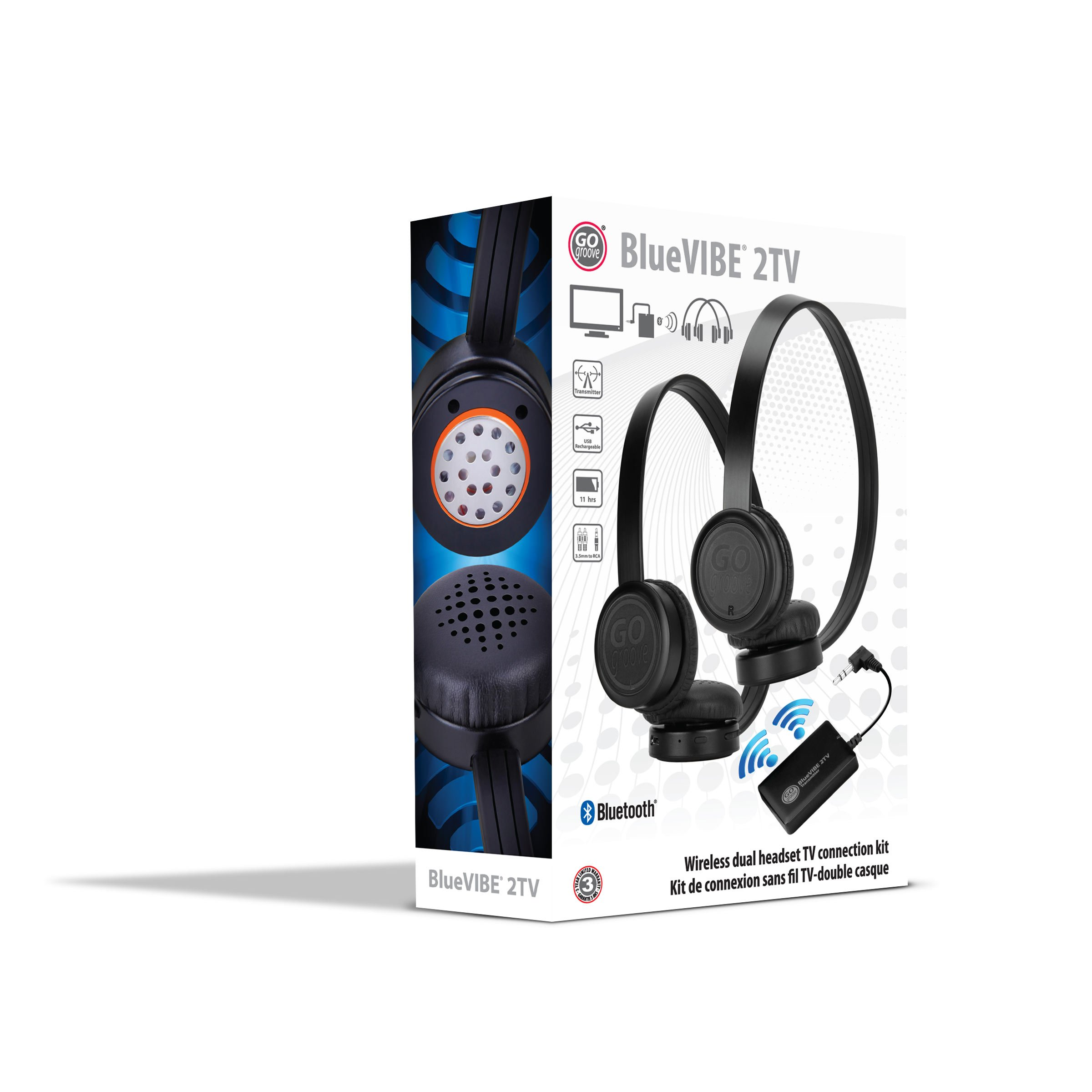GOgroove BlueVIBE 2 TV Wireless 2 Pair Headphones Television Connection Kit with Plush Lightweight Ear Cups , Bluetooth Transmitter and Easy Setup - Great for Tablet Sharing by Apple, Samsung and More by GOgroove (Image #9)