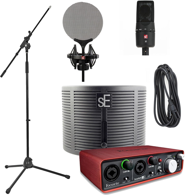 Se Electronics x1 Studio Bundle Pack Incluye Focusrite Scarlett 2I2 JB de interfaz de audio de micrófono boom Soporte y La Música De JB Cables: Amazon.es: Instrumentos musicales