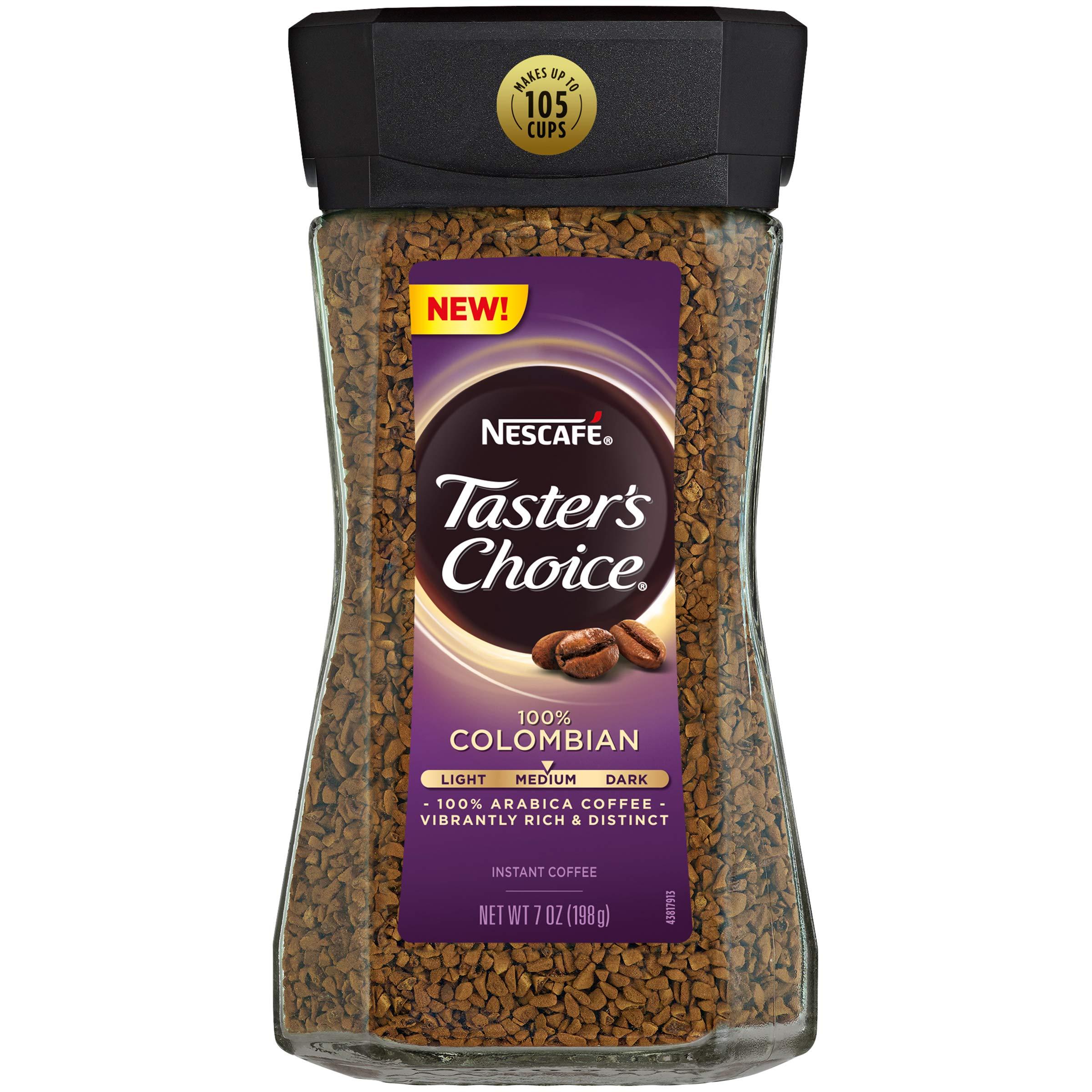 Nescafe Taster's Choice 100% Colombian Medium Roast Instant Coffee, 100% Colombian Medium Roast, 4Count