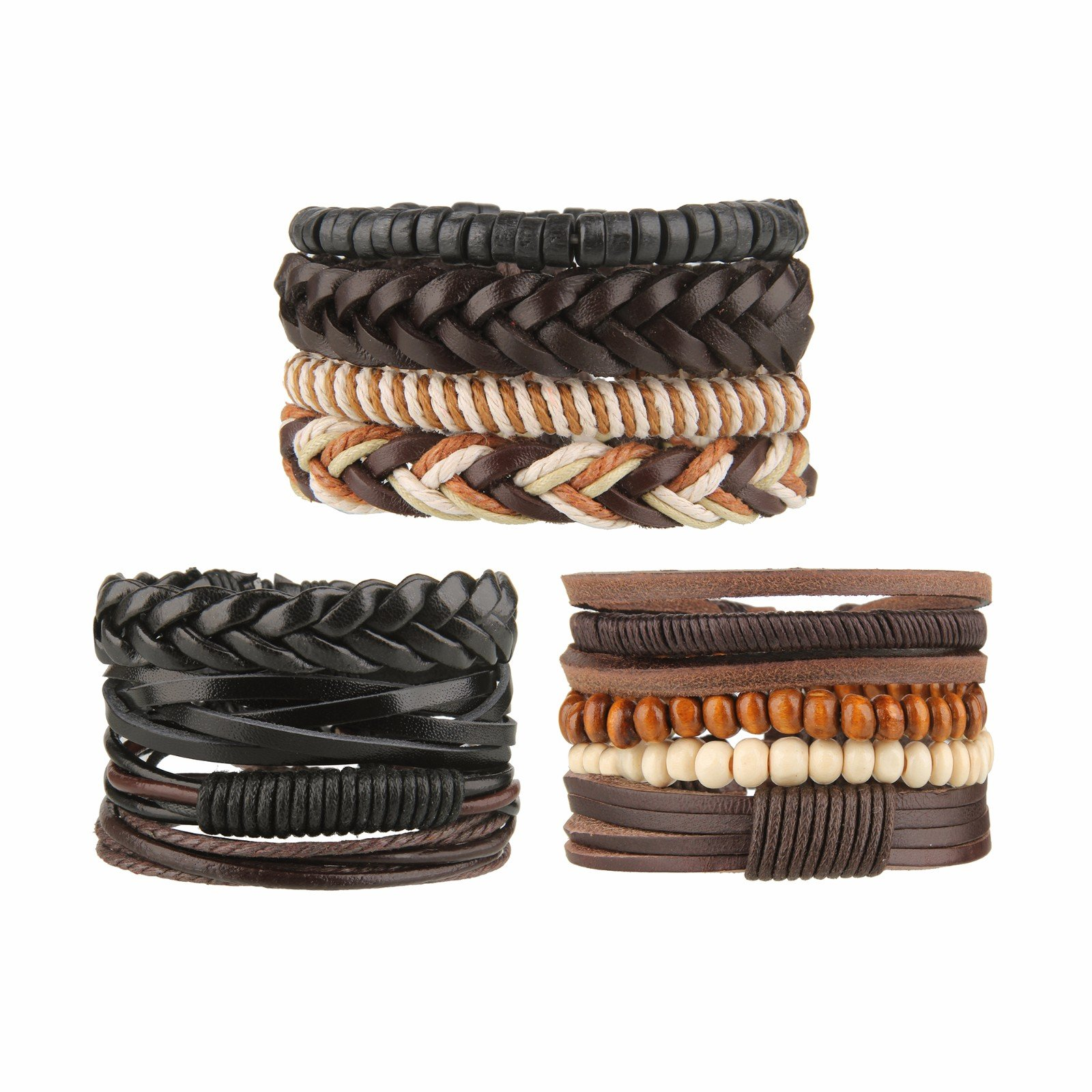 Beauty7 12PCS Mixed Genuine Cowhide Leather Bracelet Men Women Braided Adjustable Multi-layer Ethnic Tribal Wrap Bracelet Wood Bead Hemp Cord Cuff Wristband