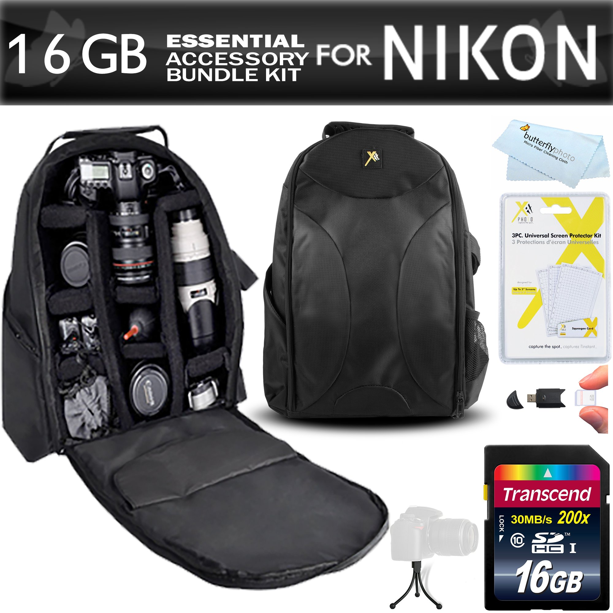 16GB Essentials Accessory Bundle Kit For Nikon D7200, D7100, D7000, D5500, D5300, D5200, D5100, D3400, D3300, D3200, D3100, D800, D800E, D700, D600, D610, D300S, D90 DSLR Digital SLR Camera Includes 16GB High Speed SD Memory Card + BackPack Case ++