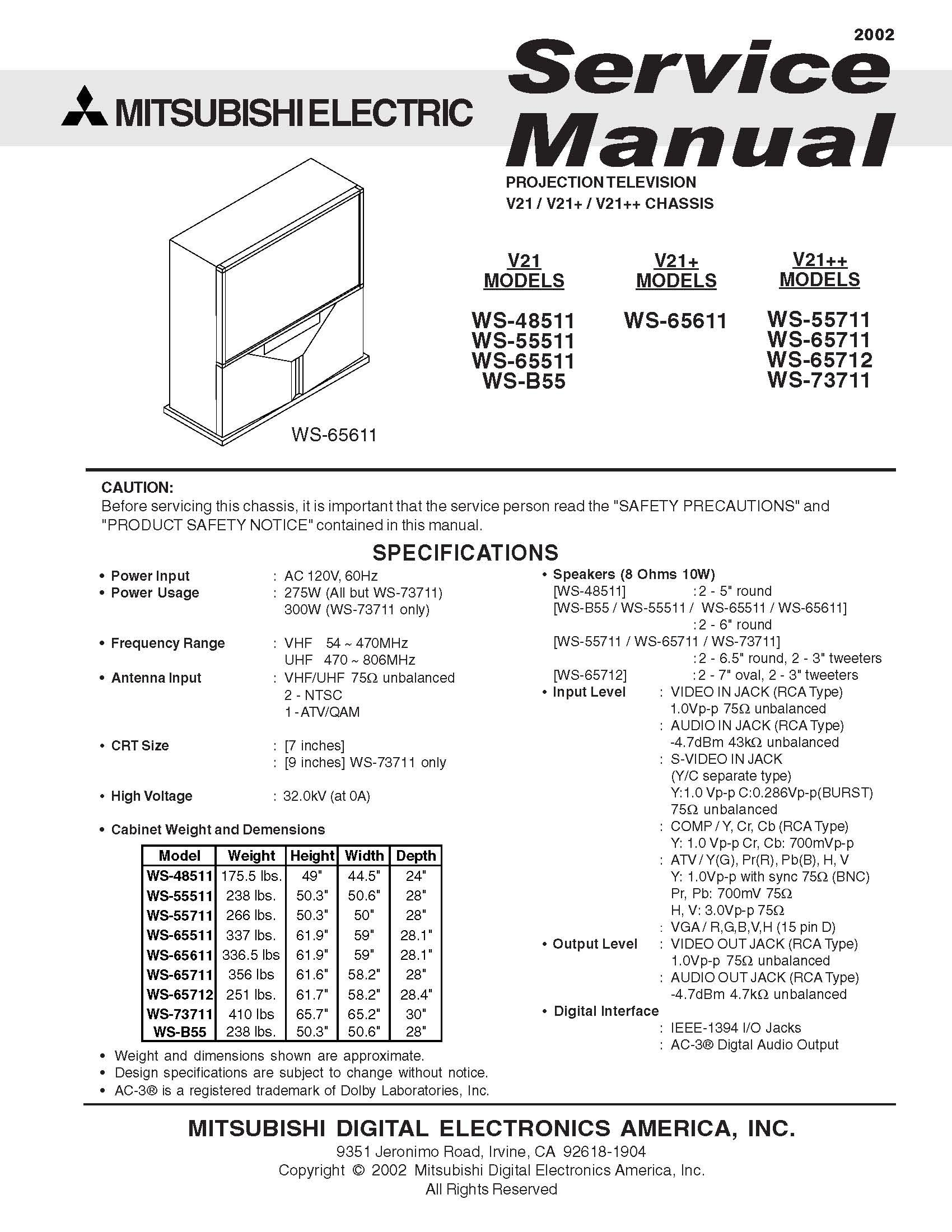 mitsubishi ws 48511 ws 55511 ws 65511 ws b55 ws 65611 ws 55711 rh amazon com Mitsubishi WS-55313 Flashing Green Light Mitsubishi TV Replacement Parts