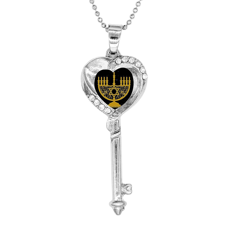 BlingDi Fashion Menorah Gold Design Heart Shaped Key Necklace