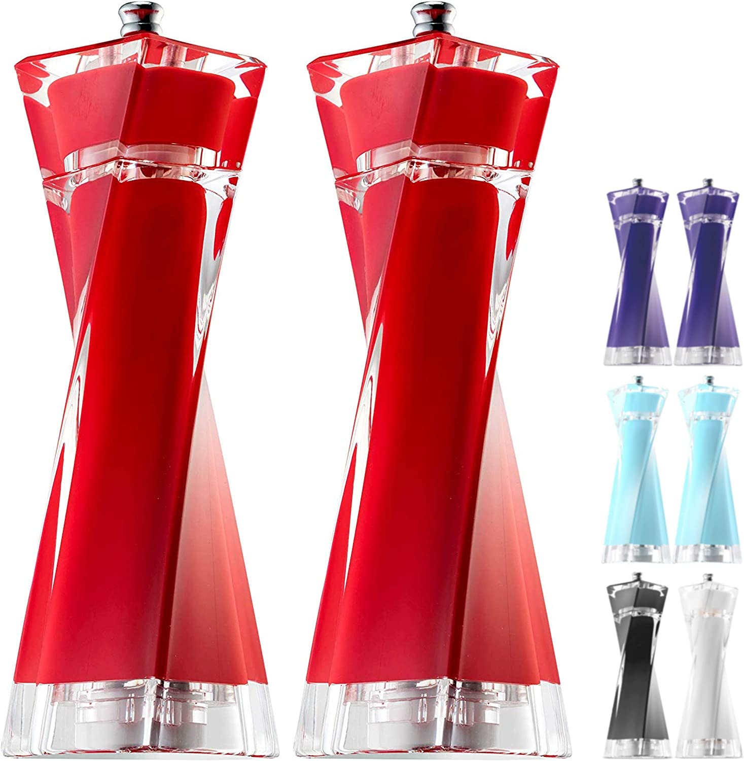 MITBAK Acrylic Red Salt and Pepper Grinders Set | Sea Salt and Pepper Mills Easy to Use and Equipped with Adjustable Coarseness And Ceramic Mechanism | Unique Kitchen Gadgets | Premium Quality