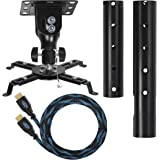 "Cheetah Mounts APMEB Black Universal Projector Ceiling Mount, with Swiveling, Rotating and Tilting Ball Joint; It Includes One 4.5 meter (15 ft) ""Twisted Veins"" HDMI Cable and Three Axis Magnetic Bubble level"
