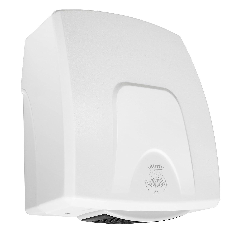 Electric Hand Dryer - Small Mini Compact Drier - Automatic Warm Air - White Washroom Hub
