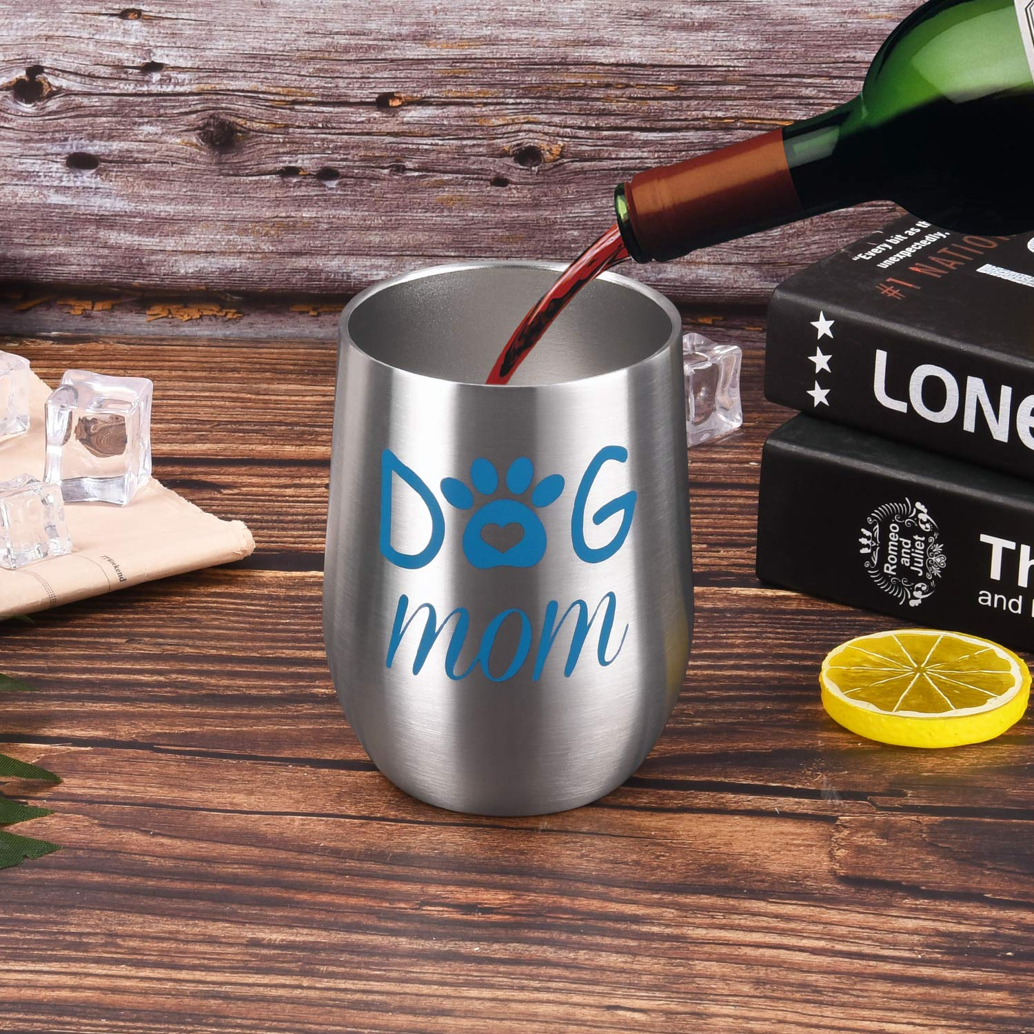 Stainless Steel Stemless Wine Tumbler Funny Wine Glasses with Lid Best Auntie Ever Wine Cups Double Wall Vacuum Cups Novelty Birthday Gifts for Aunt Women 12Oz Deeppink