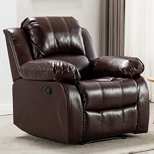 Bonzy Home Air Leather Recliner Chair Overstuffed Heavy Duty Recliner – Faux Leather Home Theater Seating – Manual Bedroom Living Room Chair Reclining Sofa Red Brown