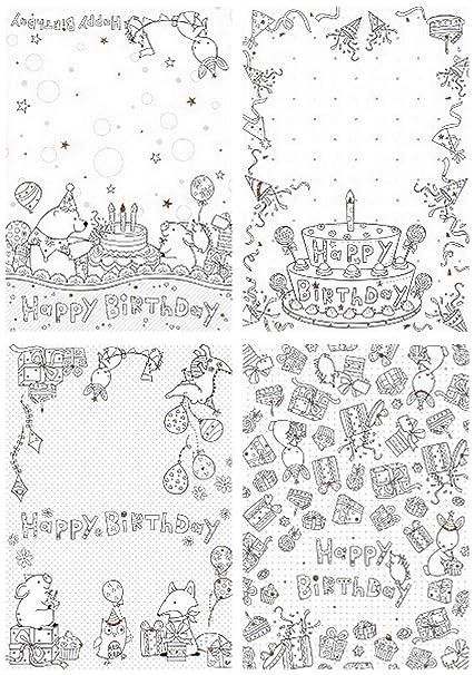 Tarjetas De Cumpleaños Para Niños Y Adultos Para Colorear