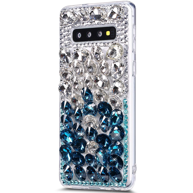 Galaxy S10 Plus Case,Galaxy S10 Plus Diamond Case Cover,3D Handmade Bling Rhinestone Diamonds Luxury Sparkle Rhinestones Case Full Crystals Bling Diamond Case Cover for Galaxy S10 Plus,Blue+Silver