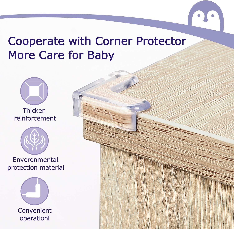 ATUIO 12 pcs Protectores de Seguridad para Mesas y Muebles Protector Esquinas con Adhesivo Potente para Muebles Protector Esquinas para Seguridad Bebes, Protector Esquinas Bebes