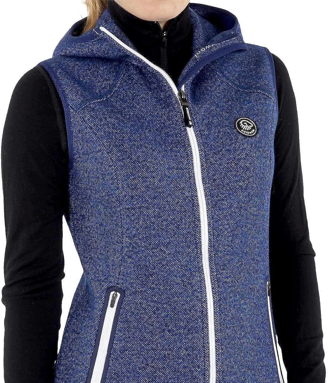 leichte Damen Jacke aus 100/% Merinowolle atmungsaktive Weste aus Merino Walk ohne /Ärmel Frauen Sport Jacke mit Kapuze Woll-Filz Gilet /ärmellos GIESSWEIN Merino Weste Stella