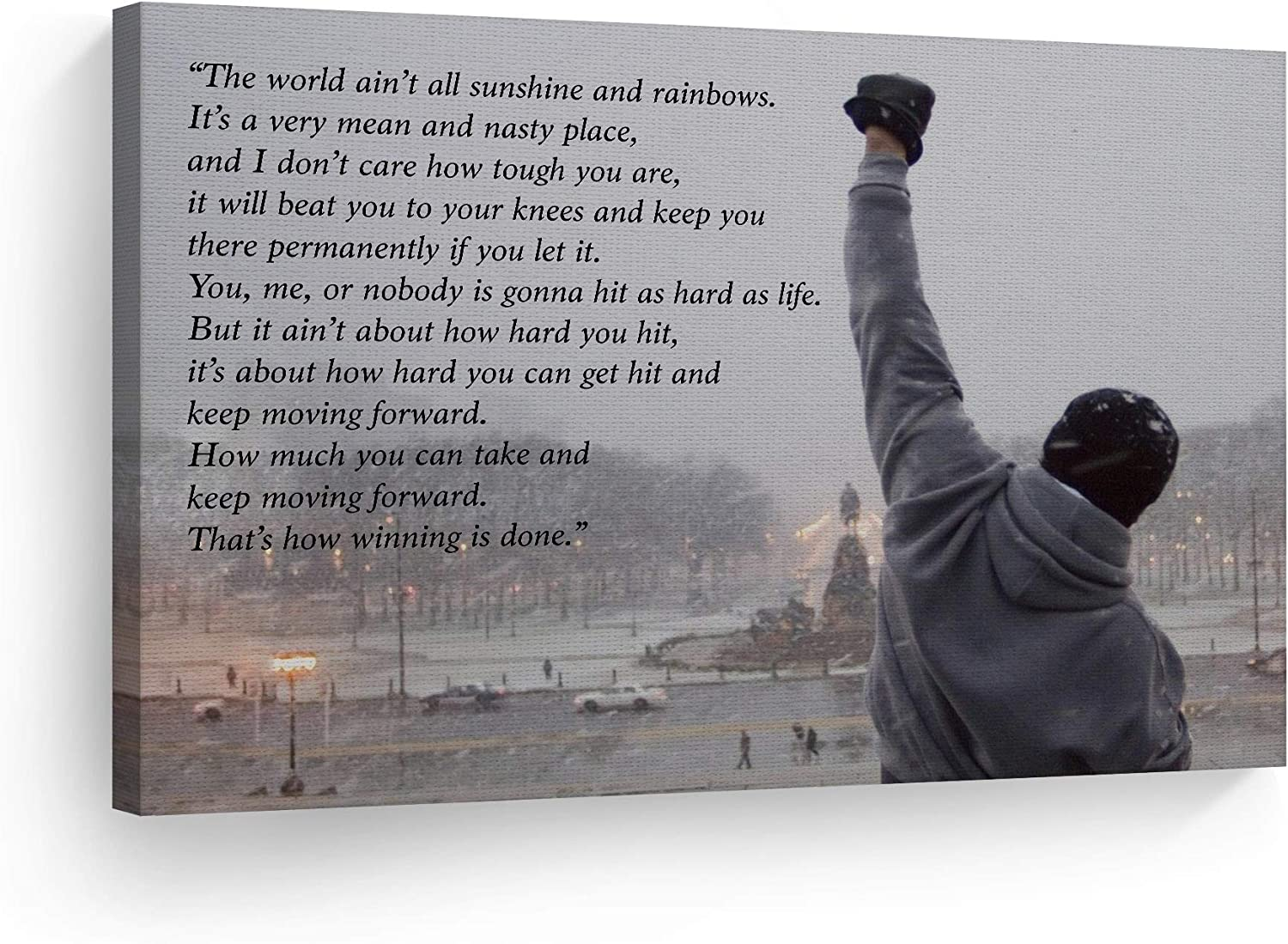 Smile Art Design Rocky Balboa Speech Canvas Print Motivational Quote Hope Artwork Boxing Sylvester Stallone Living Room Home Decoration Wall Art Ready to Hang- Made in The USA - 24x36