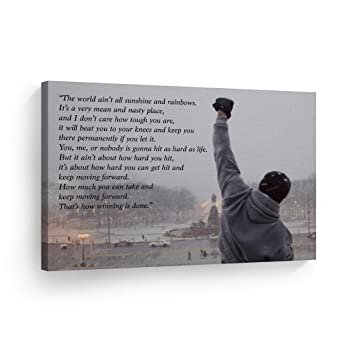 Smile Art Design Rocky Balboa Speech Canvas Print Motivational Quote Hope Artwork Boxing Sylvester Stallone Living Room Home Decoration Wall Art Ready