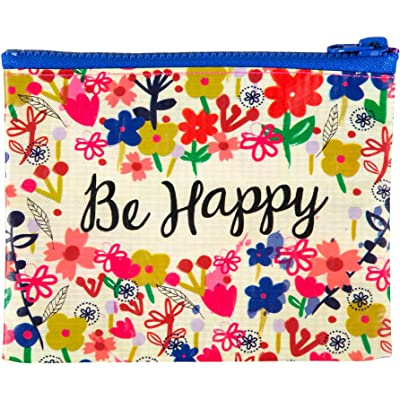 Natural Life Recycled Zip Coin Purse, Be Happy Flower