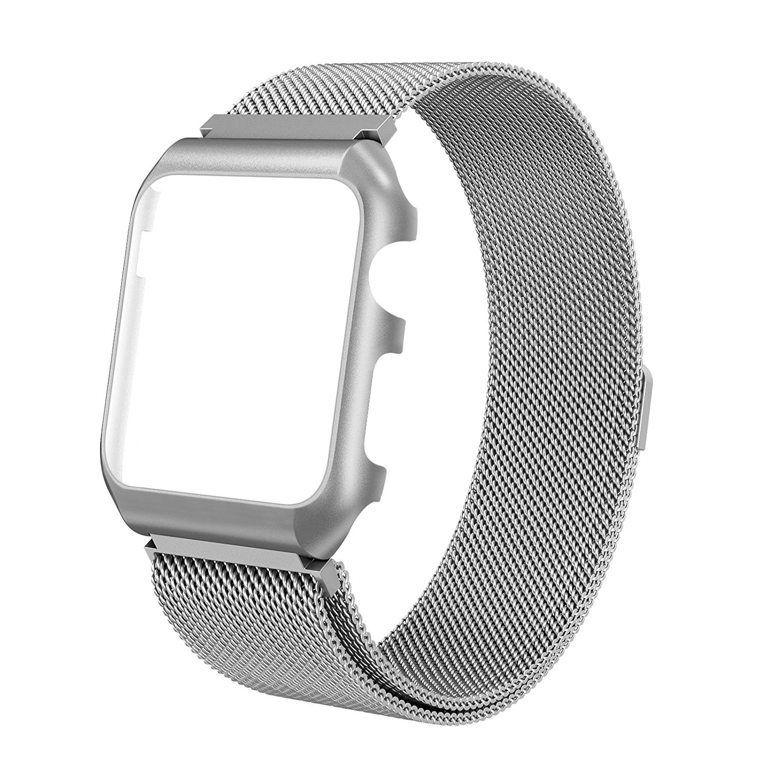 For Apple Watch Band 38mm 42mm Milanese Loop Stainless Steel Replacement Band with Metal protective Case Band for Apple Watch Series 3 Series 2 Series 1 Sport & Edition (Silver, For apple watch 42mm)