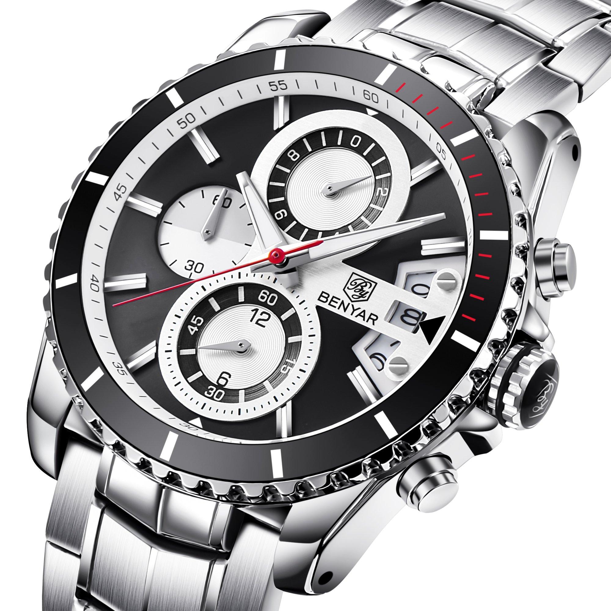 BENYAR Men's Chronograph Quartz Date Stainless Steel Black Dial Watch#BY-5127M by BENYAR