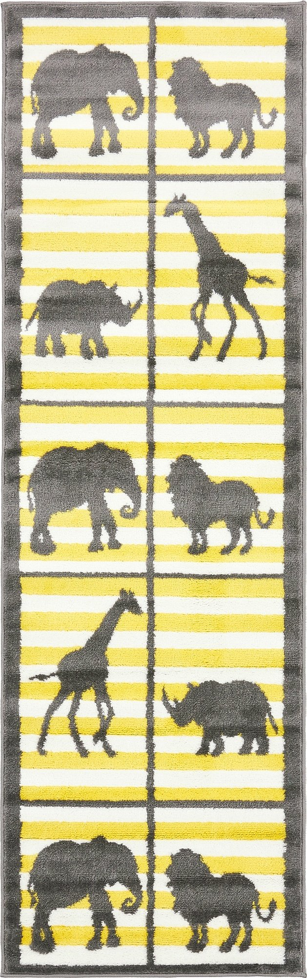 Unique Loom Metro Collection Modern Animals Bright Colors Kids Gray Runner Rug (2' x 7')