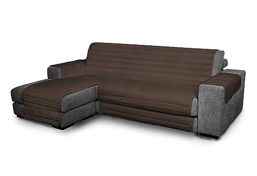 Italian Bed Linen Elegant - Funda Protectora para Sofá Chaise Longue Izquierdo, Microfibra, Marròn, Medida del asiento 240 cm + cubre brazos laterales