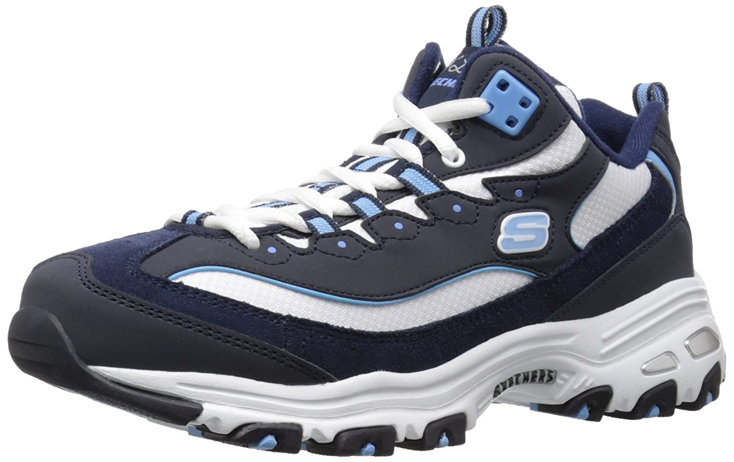 Skechers D'Lites-Biggest Fan, Zapatillas de Deporte para Mujer Navy/White/Light/Blue