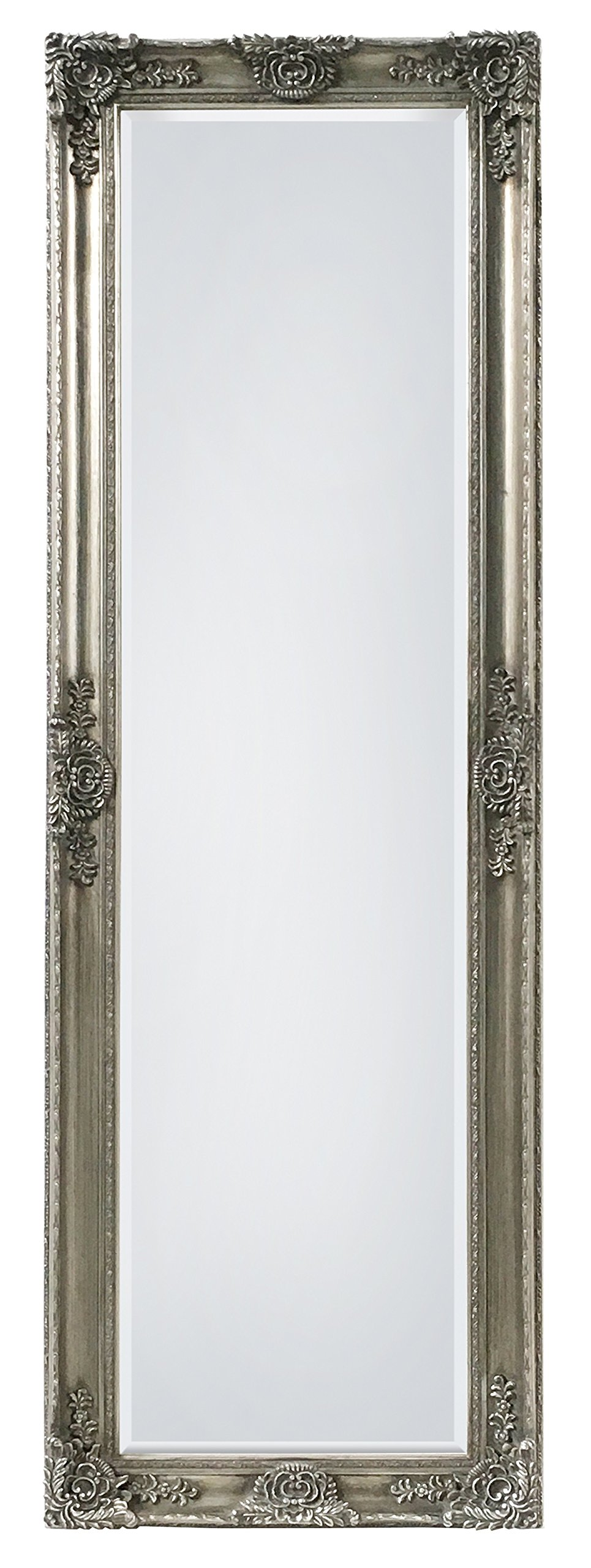 "SBC Decor Mayfair Belle Full Length Mirror, 19"" x 60"" x 2"", Antique Silver - SOLID WOOD FRAME HAND FINISHED IN ANTIQUE SILVER - with intricate molding details. Available in four finishes: Antique Gold, Matte White, Champagne Gold, and Antique Silver. (featured here) EASY TO HANG - No worries about extra tools and installation time! This mirror comes with preinstalled mounting hardware, for vertical or horizontal hanging. REAL BEVELED GLASS - Real 5mm thick glass mirror featuring a 1in bevel, for a truer reflection with a sophisticated edge. - mirrors-bedroom-decor, bedroom-decor, bedroom - 818DfSeMtlL -"