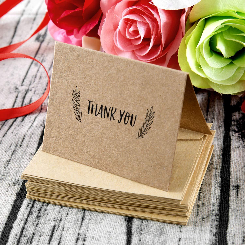 Carte kraft marroni biglietti di ringraziamento grazie biglietto dauguri,WolinTek Thank You Cards Confezione da 36 con 36 Buste 6 Disegni