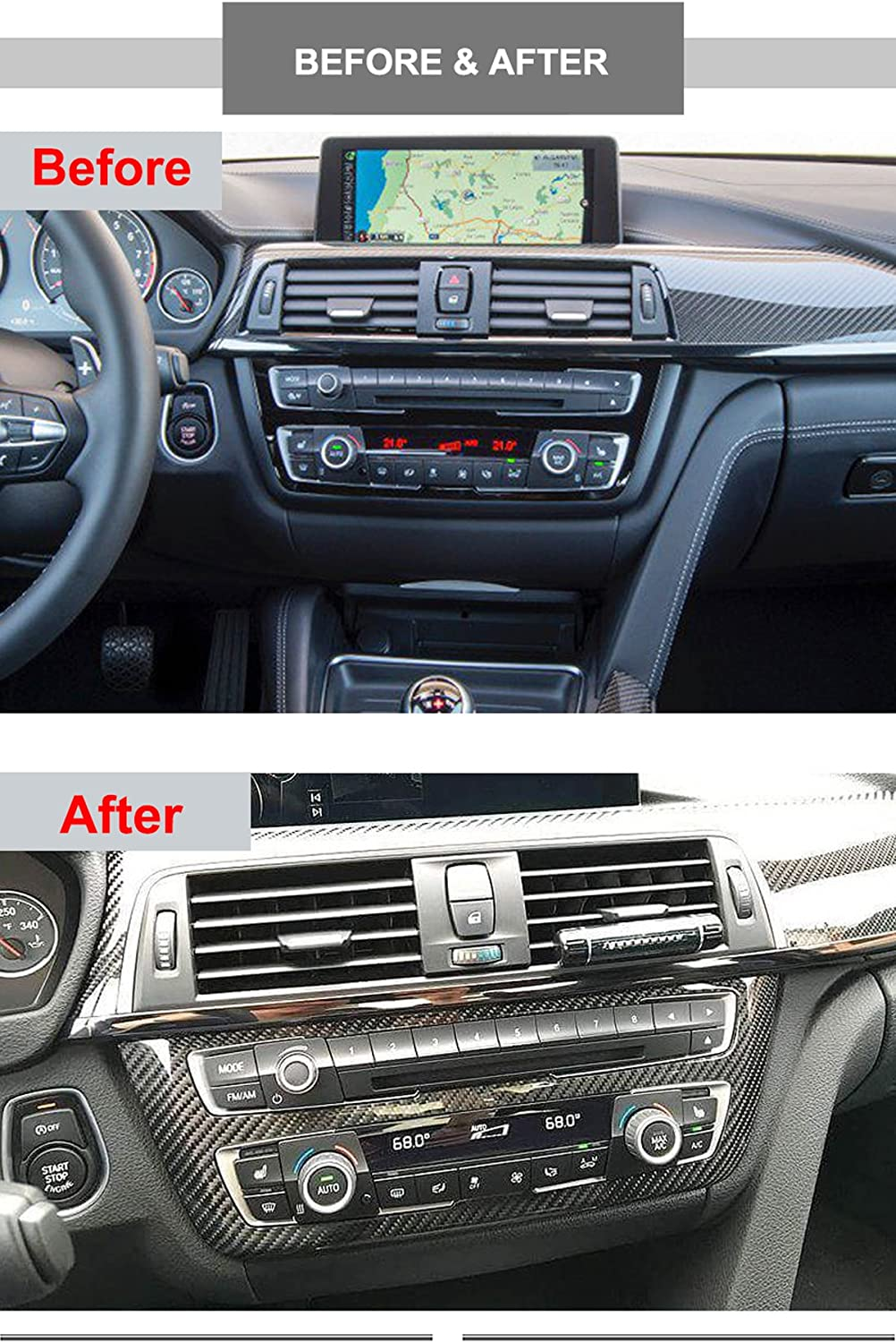Real Carbon Fiber MotorFansClub Central Console Dashboard Trim Fit for Compatible with BMW 3 Series 4 Series F80 F82 F30 F34 M3 M4 2014 2015 2016 2017 2018