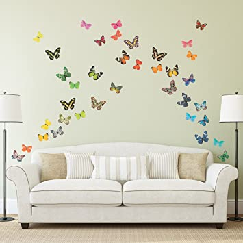 Decowall DA 1705 Lebhafte Schmetterlinge Tiere Wandtattoo Wandsticker Wandaufkleber Wanddeko Fr Wohnzimmer Schlafzimmer Kinderzimmer