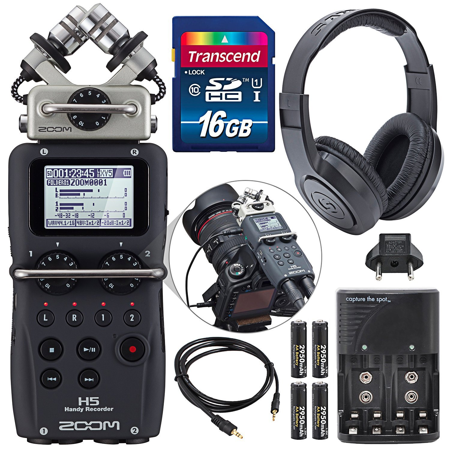 Zoom H5 Four-Track Portable Recorder with Interchangeable Microphone System Including Samson Studio Headphones and Deluxe Accessory Bundle