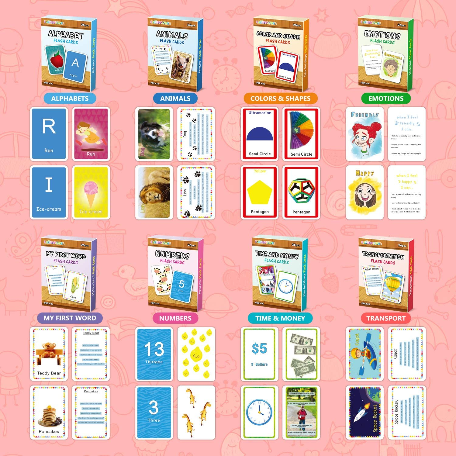 Kindergarten,Kids 2-6 Years Animals,Emotions,Transport,Time /& Money,208 Flash Cards for Prek Preschool Learning SpringFlower Flash Cards Set of 8-Numbers,Alphabets,First Sight Words,Colors /& Shapes