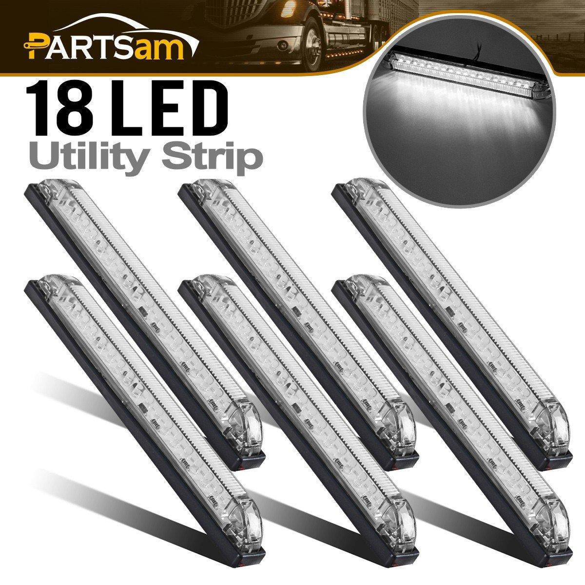 Partsam 6x 8' Marine/Boat Slim Line Clear/White LED Utility Strip Light 18 Diodes Sealed, 8 Inch White Led Strip Bar Marker Clearance Lights