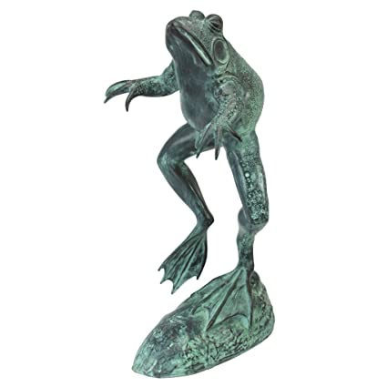 Design Toscano Giant Jumping, Spitting, Leaping Frog Bronze Garden Statue