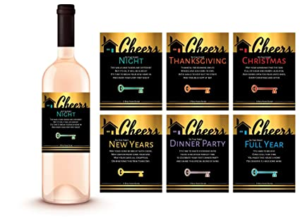 6 new home gift wine label milestone set gold housewarming party gift ideas