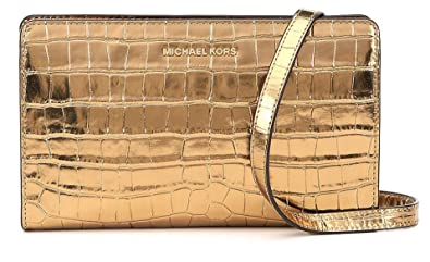 a417e964bb7c Image Unavailable. Image not available for. Color: Michael Kors Jet Set  Travel Metallic Embossed-Leather - Crossbody ...
