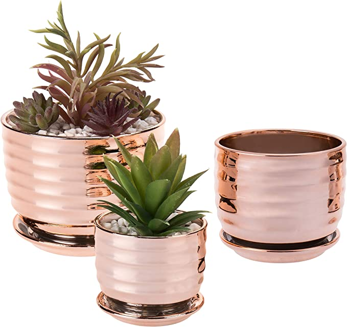 Copper Planter on Stand Set of 3