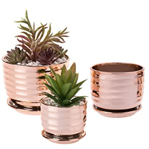 MyGift Contemporary Copper Tabletop Planter Pots with Saucer, Set of 3