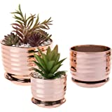 MyGift Contemporary Metallic Copper-Toned Ceramic Tabletop Planter Pots with Saucer, Set of 3