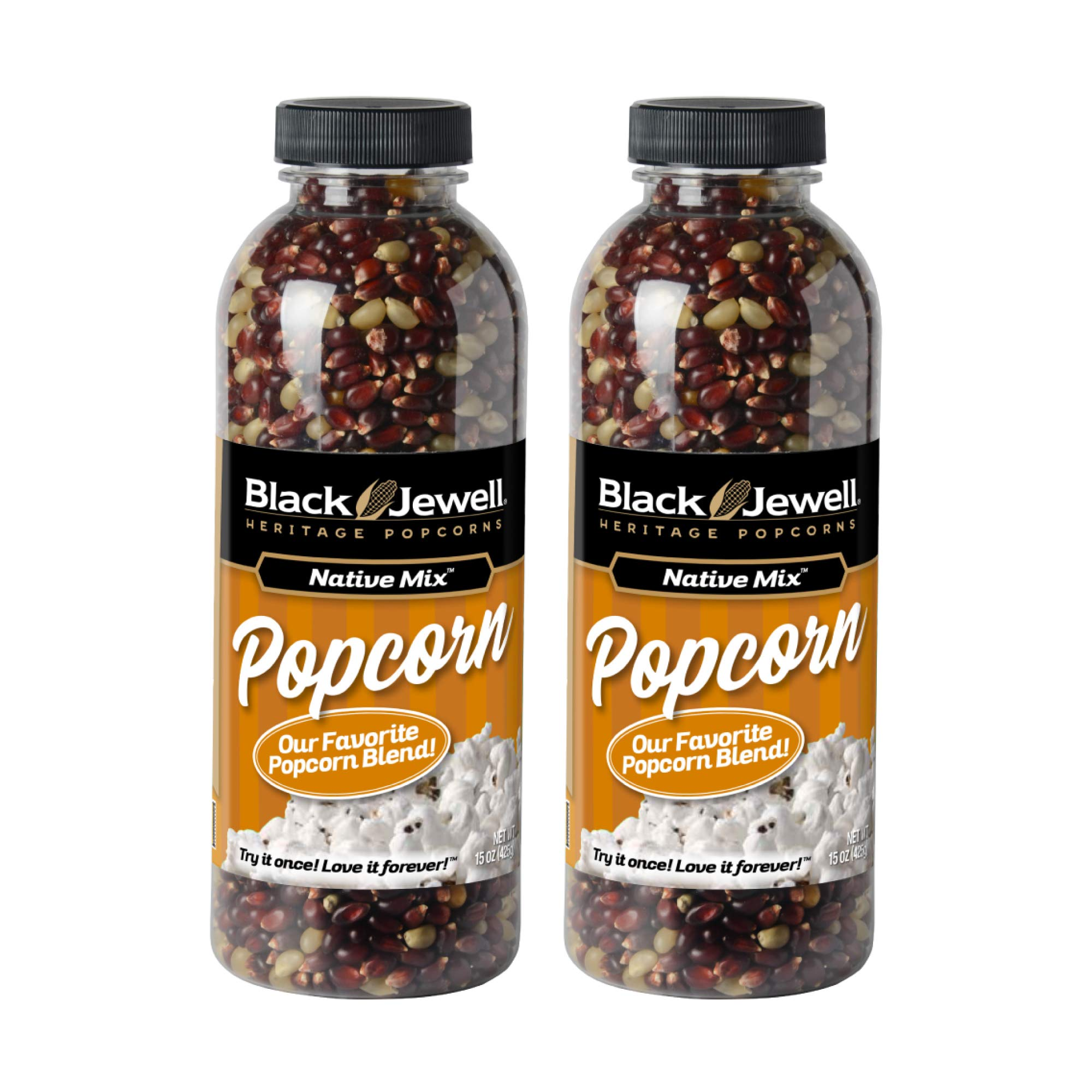 Black Jewell Native Mix Hulless Popcorn Kernels 15 Ounces (Pack of 2) by Black Jewell