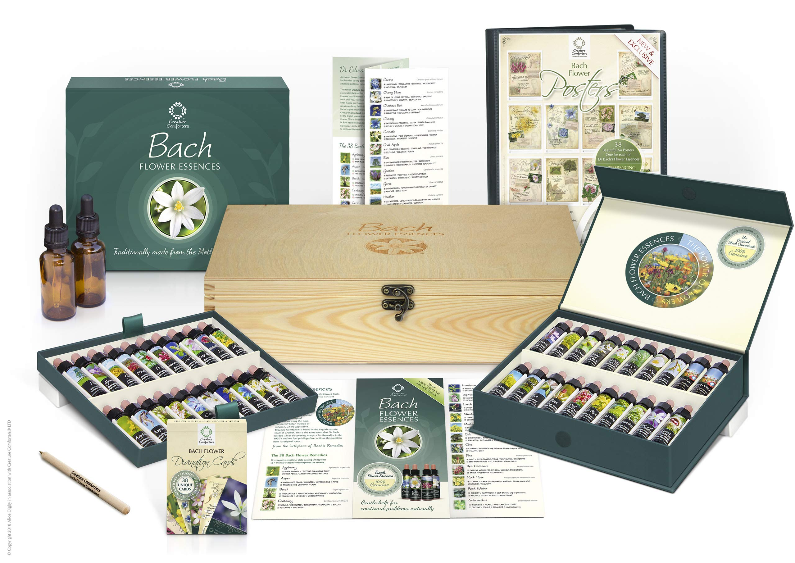 Bach Flower Remedy Complete Kit in Wooden Case. 40 Quality Essences, Pack 38 Divination Cards & 38 Posters, 2 Dosage Bottles. Premium Gift Set Box. by Creature Comforters