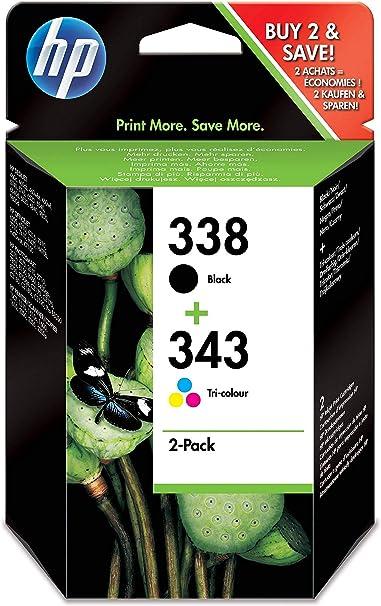 HP SD449EE 338/343 Cartucho de Tinta Original, 2 unidades, negro y tricolor (cian, magenta, amarillo): Hp: Amazon.es: Oficina y papelería