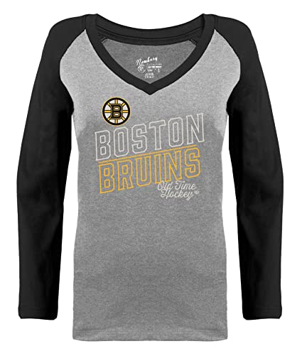 ef8c94f31d4 Old Time Hockey Boston Bruins Womens Grey Heathered Patricia V-Neck Long  Sleeve Raglan T