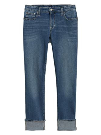 df522445 GAP Womens 741980 Mid Rise Real Straight Leg Cuffed Ankle Jeans Medium  Indigo (26W Regular