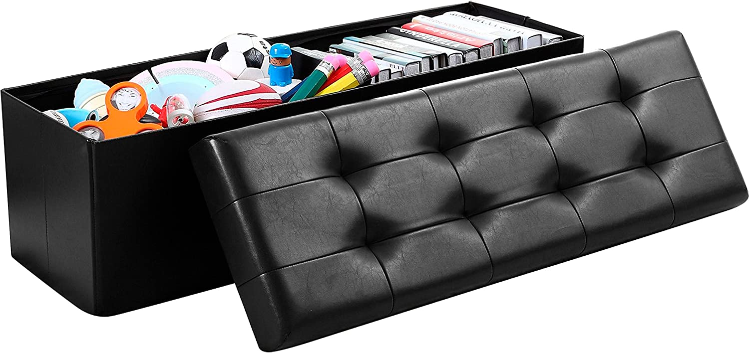 "Ornavo Home Foldable Tufted Faux Leather Large Storage Ottoman Bench Foot Rest Stool/Seat - 15"" x 45"" x 15"" (Black)"