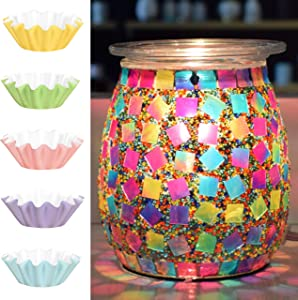 Flippin' Happy Mosaic Glass Electric Wax Melt Warmer - Scented Wax Burner and Oil Fragrance Warmer for Living Room, Bedroom, Office, Home Decor Gifts - Unique Candle Melt Lamp (Jelly Bean)