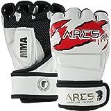 ARES Premium MMA Handschuhe | Verstärkte Nähte | Boxing, Punching, Sparring, Grappling Gloves | Jiu Jitsu Kampfsport Boxsack Freefight Training Box-Handschuh - mit Hand-Bandage für Frauen & Herren