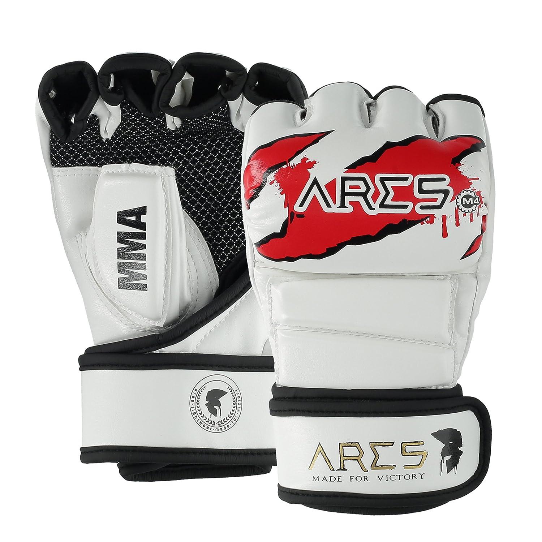 ARES Premium MMA Handschuhe | Verstärkte Nähte | Boxing, Punching, Sparring, Grappling Gloves | Jiu Jitsu Kampfsport Boxsack Freefight Training Box-Handschuh - mit Hand-Bandage für Frauen & Herren ARES Fightwear