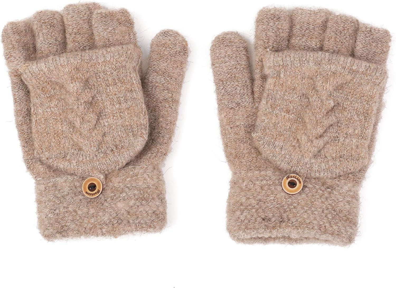 Flammi Women's Warm Knitted Fingerless Gloves Convertible Mittens